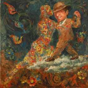 """""""Dueño de una mina mas linda que una flor"""" Óleo, 100 X 100 cm."""
