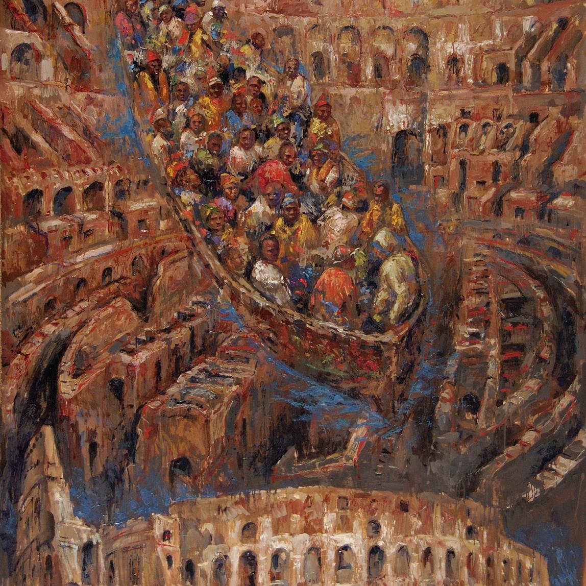 """Ave Caesar morituri te salutant (Salve César, los que van a morir te saludan!) Óleo, 190 X 140 cm."