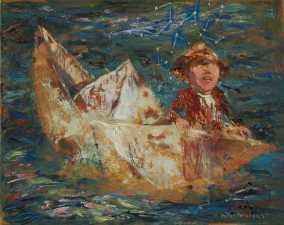 """""""Sos una barca perdida llevada por la corriente"""" Óleo, 40 X 50 cm."""