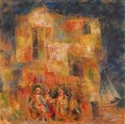 """""""La casa de las marionetas boquenses"""" óleo, 100 X 100 cm."""