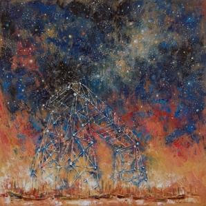 """""""El puente y las estrellas"""" Óleo, 80 X 80 cm."""