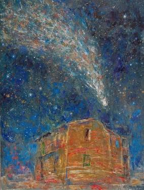 """""""La casa del elegido"""" óleo, 60 X 50 cm."""