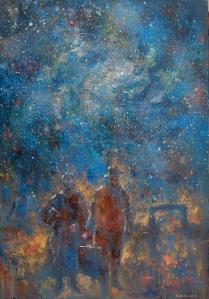 """""""Los inmigrantes y la noche"""" Óleo, 130 X 90 cm."""