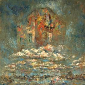 """""""La casa del poeta"""" Óleo, 100 X 100 cm."""