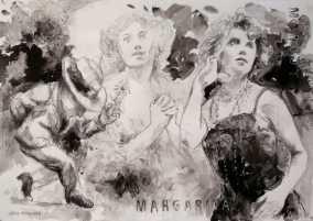 """""""Ya no sos mi Margarita. Ahora te llaman Margot"""" Técnica mixta, 27 X 40 cm."""