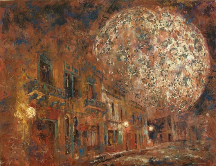 """""""Mientras la luna serena"""" Óleo, 90 X 130 cm."""