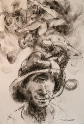 """""""Si hasta parece que ella se mece entre las nubes de humo azul"""" Técnica mixta, 40 X 27 cm."""