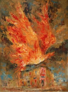 """""""La casa que se llevó un pájaro de fuego"""" Óleo, 70 X 50 cm."""