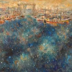 """""""Un río de estrellas"""" Óleo, 80 X 120 cm."""