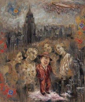 """""""Mary, Peggie, Betty, Julie y un Portegnomo"""" Óleo, 130 X 90 cm."""