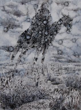"""""""La sombra de Calfucurá"""" Técnica mixta, 190 X 145 cm."""