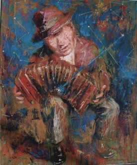 """""""Tango de la Cruz del Sur"""" óleo, 60 X 50 cm."""