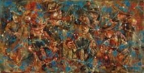 """""""La orquesta de las estrellas"""" Óleo, 50 X 100 cm."""