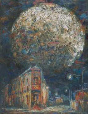 """Barrio plateado por la luna"" Óleo, 130 X 90 cm."