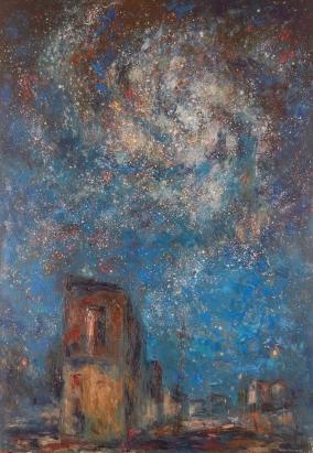 """""""La galaxia de la esquina"""" - Óleo, 195 X 135 cm."""