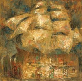 """La casa de los navegantes"" Óleo, 100 X 100 cm."