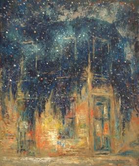 """""""La casa sobre la que cayó la noche"""" Óleo, 60 X 50 cm."""