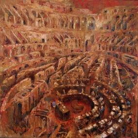 """Panem et circenses (Pan y circo)"" Óleo, 160 X 160 cm."