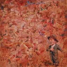 """""""Un Portegnomo en Toulouse"""" Óleo, 100 X 100 cm."""