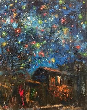"""""""La noche estrellada"""" - Óleo, 35 X 27 cmts."""