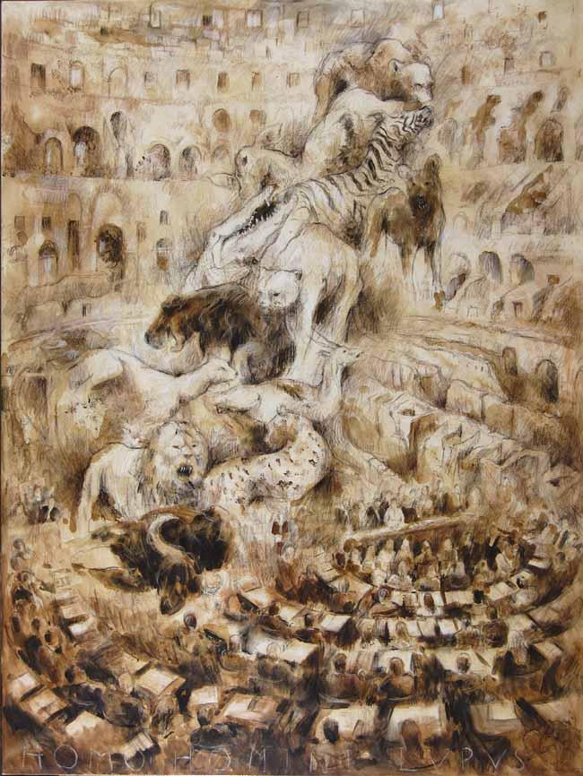 """""""Homo Homini Lupus"""" (Hombre, lobo del hombre) - Técnica mixta, Óleo, 160 X 120 cm."""