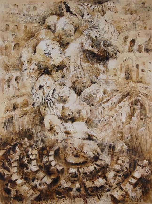 """""""Homo Homini Lupus (2)"""" (Hombre, lobo del hombre)- Técnica mixta, 160 X 120 cm."""
